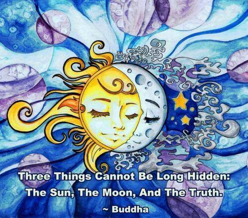 Buddha - 3 things cannot be for long hidden -moon, sun and the truth .aquarella