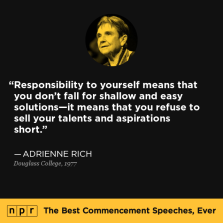 Adrienne Rich - Responsibility to Self -Douglass college-1977