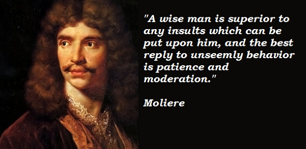 Moliere - a wise man is superior tp any insults which can be put upon him + best reply to unseemly behaviour is patience and moderation.