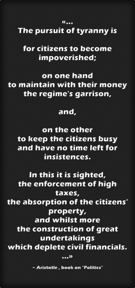 Aristotle - The pursuit of tyranny ... black background Bond lettering