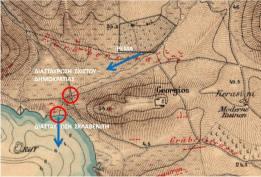Nikos Belavilas - 17.11.2017 - Ο χάρτης των Alten και Kaupert 1882 δείχνει το σημείο αυτό. Οι δύο κόκινοι κύκλοι =τα σημεία τη