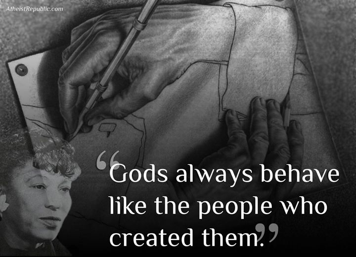 Gods always behave like the people who created them by Zora Neale Herlston - LARGE religion patriarchy hands drawing hands drawing