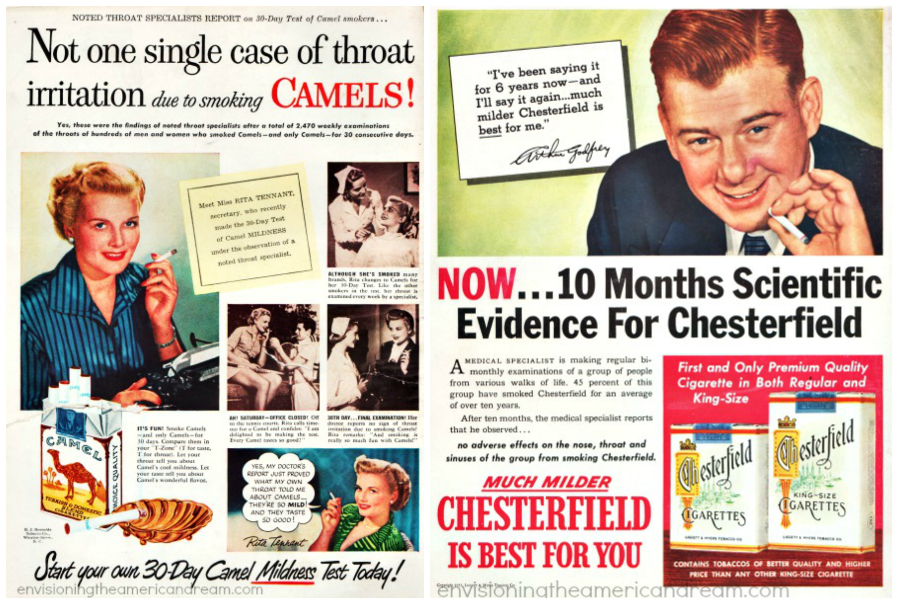 Smoking - not one single case of throat irritation Camels - 10 months Scientific evidence for Chesterfield