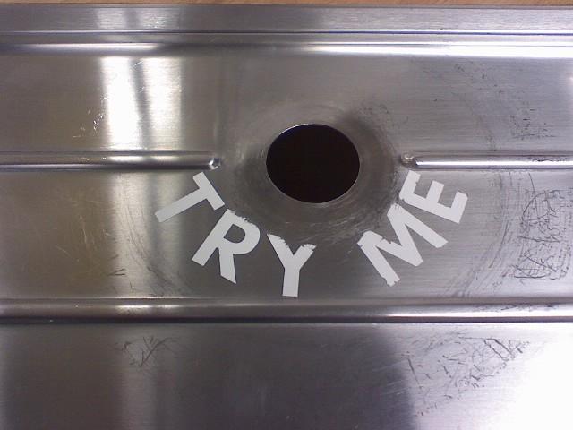 Upscale Glory Hole - metal - saying ,,TRY ME,,