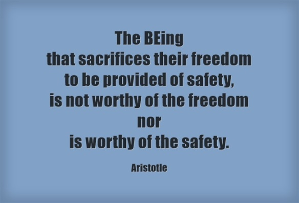 Aristotle - The BEing that sacrifices their freedom to be provided of safety, is not worthy of the freedom nor is worthy of the safety. blue