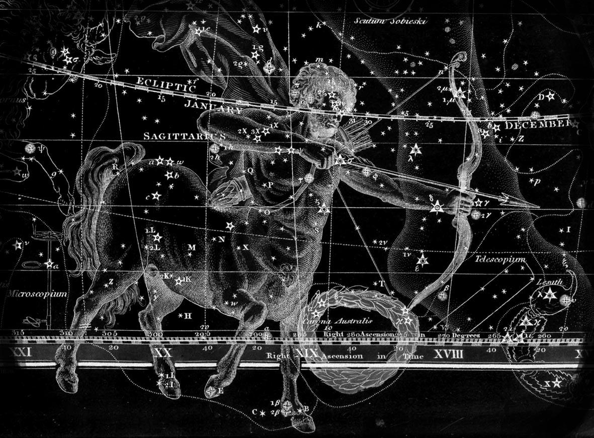 Sagittarius - night sky and morphe shape ...