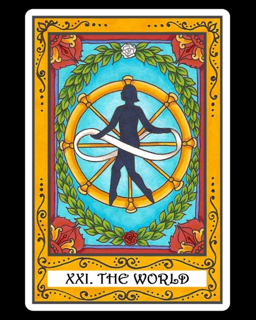THE WORLD - XXI - 21 - Tarot card with INFINITY sign