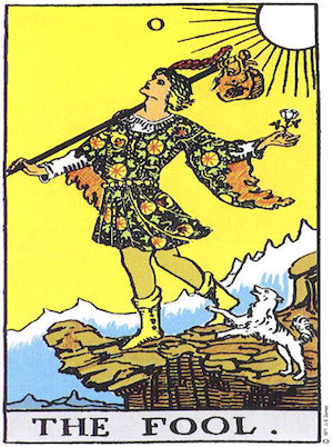 The Fool - card number ,,0,, - representing ,,the new cycle,, and ,,the surrender to leap of faith,, in the classic tarot