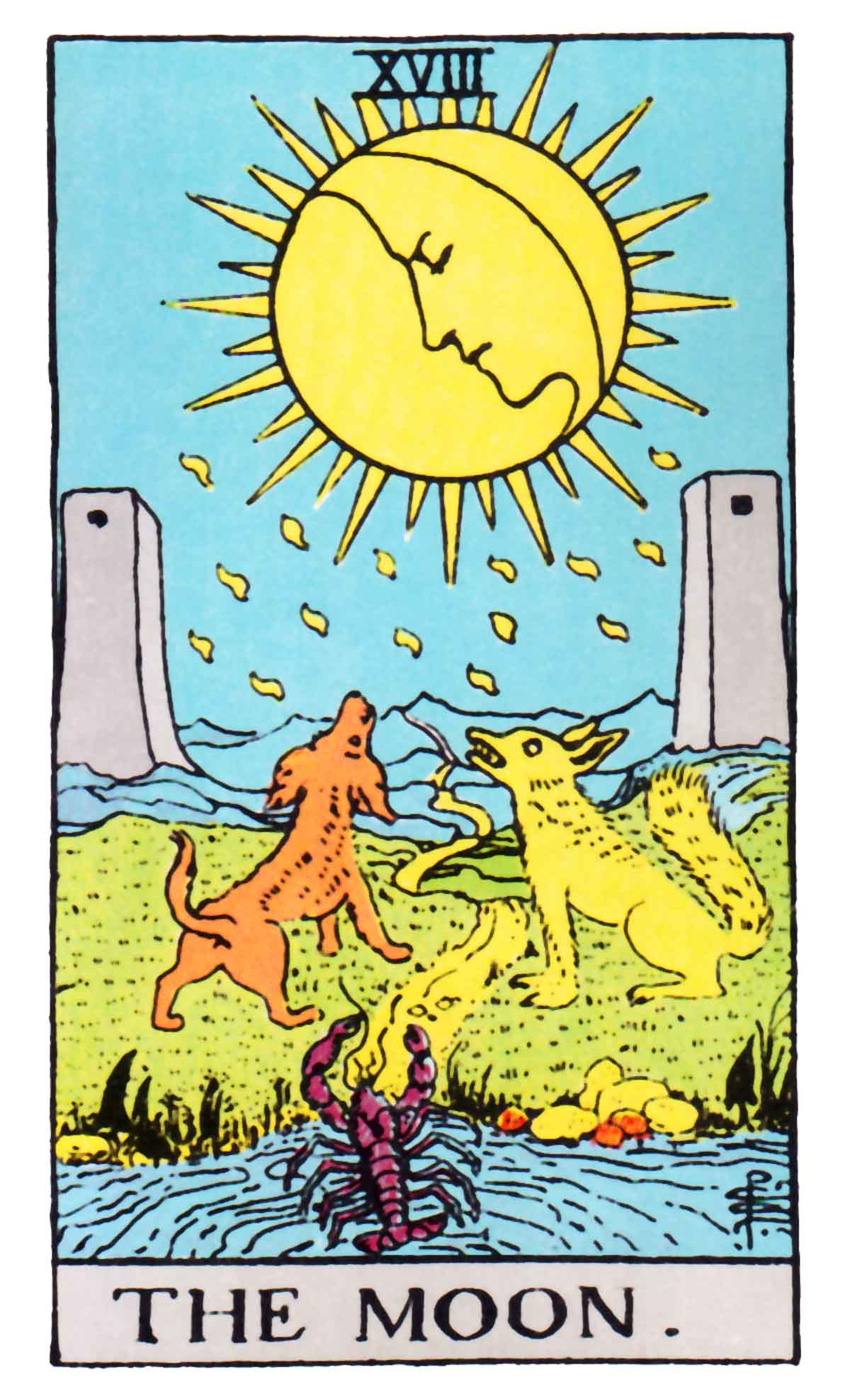THE MOON - XVIII - 18 Tarot card - the lower wolf fear-hidden-shadow vibration and the Higher Dog Intuitively Aware vibration -