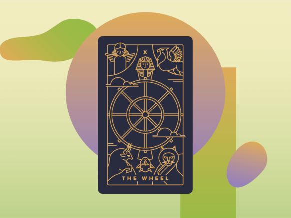 WHEEL of FORTUNE - X - 10 Tarot card . with backdrop