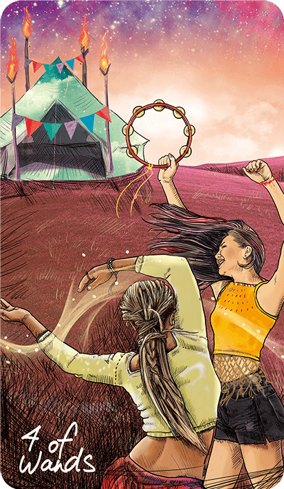 FOUR - 4 - of WANDS - by LightSeers .QM - 2 females celerating with tamporines, looking at a tent with 4 poles in the back