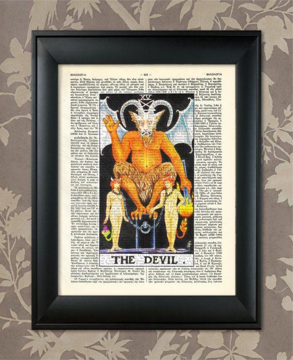THE DEVIL - XV - 15 Tarot card .03 framed article on high-end wallpapper