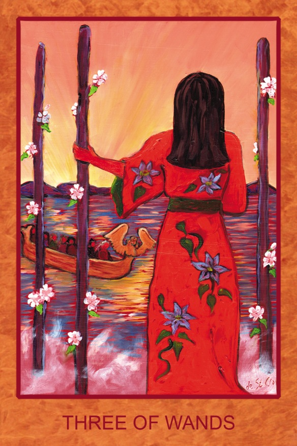 THREE of WANDS - lady with dark hair and flowers on her kimono