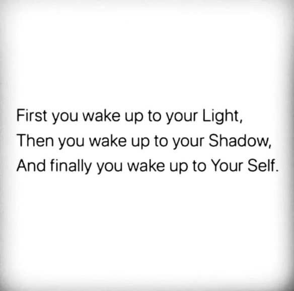 First you wake up to your Light, Then you wake up to your Shadow, And finally you wake up to Your Self.