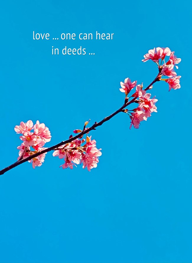 love ... one can hear in deeds ...