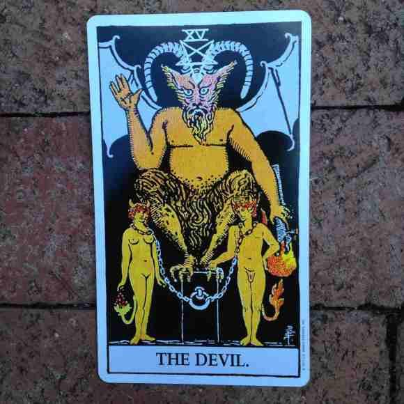 THE DEVIL - XV - 15 Tarot card .02 on stonewall